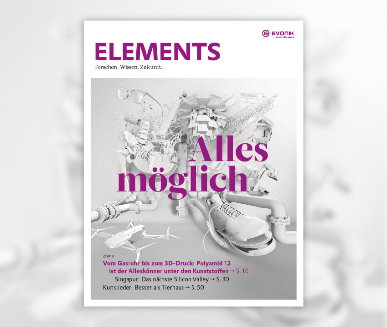 Cover des Elements Magazin von Evonik